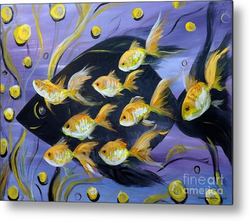 Fish Metal Print featuring the painting 8 Gold Fish by Gina De Gorna