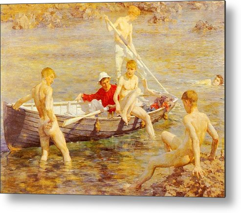 Canal Metal Print featuring the digital art Tuke Henry Scott Ruby Gold And Malachite Henry Scott Tuke by Eloisa Mannion