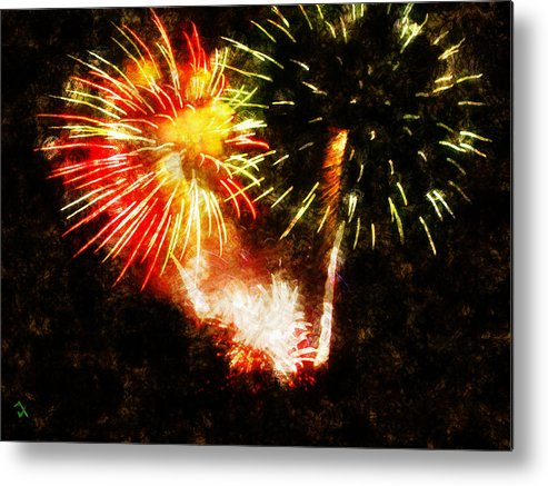 Fireworks Metal Print featuring the painting A 4th Celebration by Adam Vance