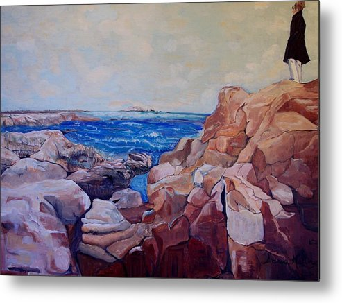 Beach Metal Print featuring the painting A Beautiful Day by Andreia Medlin