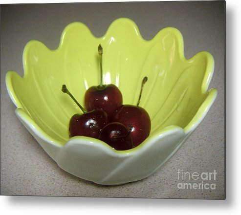 Nature Metal Print featuring the photograph A Bowl Of Cherries by Lucyna A M Green