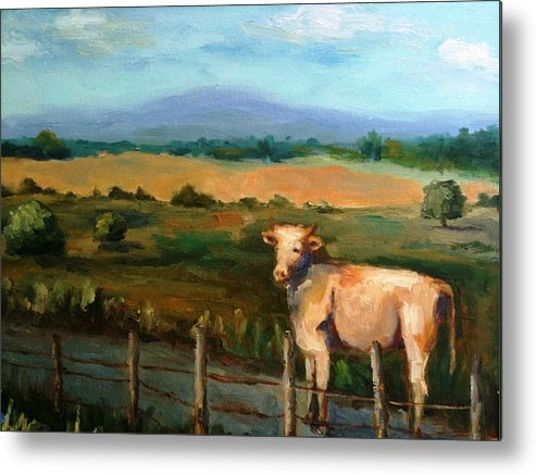 Landscape And Cow Metal Print featuring the painting A Cow Up In Missouri by Sharon Franke