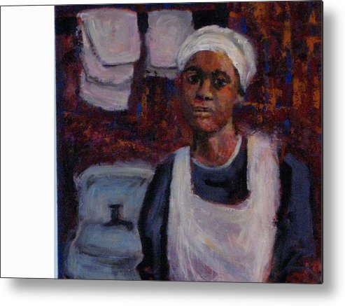 Woman Metal Print featuring the painting A Long Day by Connie Freid