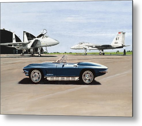 Corvette Metal Print featuring the painting A Pilots Dream by Richard Herron