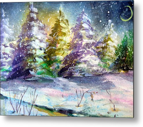 Christmas Metal Print featuring the painting A Silent Night by Mindy Newman