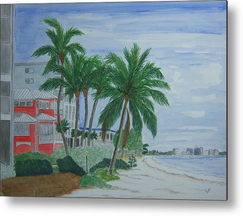 Beach Metal Print featuring the painting A View Down Ft. Myers Beach by Nancy Nuce