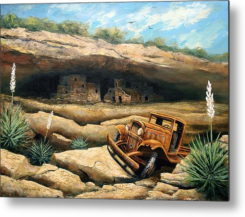 Landscape Metal Print featuring the painting Abandoned by Brooke Lyman