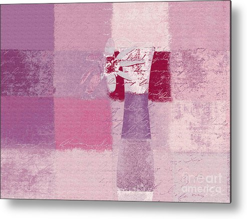 Abstract Metal Print featuring the digital art Abstract Floral - 11v3t09 by Variance Collections