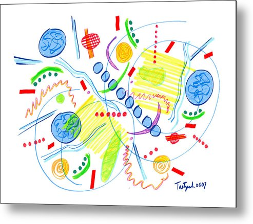 Abstract Metal Print featuring the drawing Abstract Pen Drawing Twenty-seven by Lynne Taetzsch