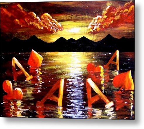 Poker Metal Print featuring the painting Abstract Sunset Landscape Seascape Floating Aces Suits Poker Art Decor by Teo Alfonso