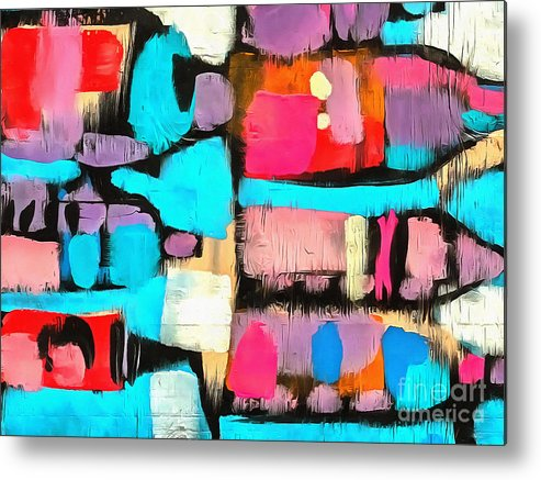 Abstract Metal Print featuring the painting Abstract Wine Bottles Blue Red by Edward Fielding