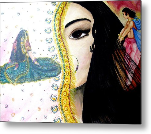 Couple Metal Print featuring the painting Adoloscent Dream by Sujata Tibrewala