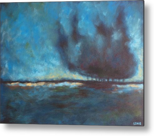 Blue Metal Print featuring the painting After by Ellen Lewis