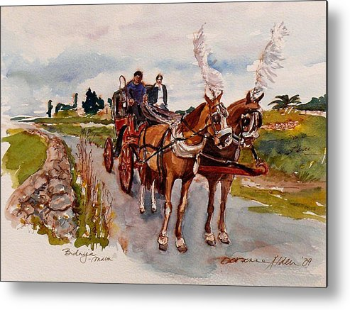 Landscape Metal Print featuring the painting Afternoon Coachride by Doranne Alden