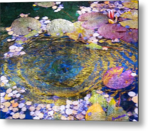 Pond Metal Print featuring the digital art Agape Gardens Autumn Waterfeature II by Anastasia Savage Ealy