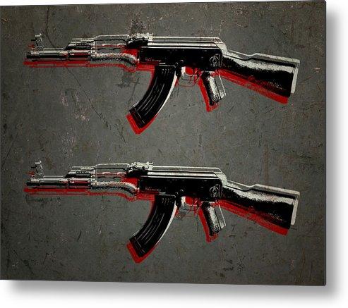 Ak47 Metal Print featuring the digital art Ak47 Assault Rifle Pop Art by Michael Tompsett