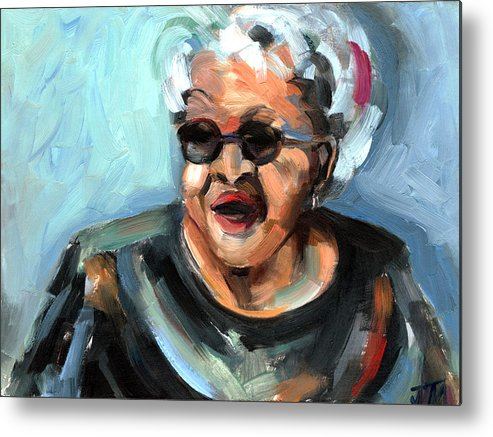 Portrait Metal Print featuring the painting Alberta Adams by Jackie Merritt