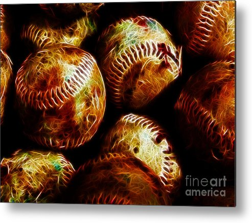 Baseball Metal Print featuring the photograph All American Pastime - A Pile Of Fastballs - Electric Art by Wingsdomain Art and Photography