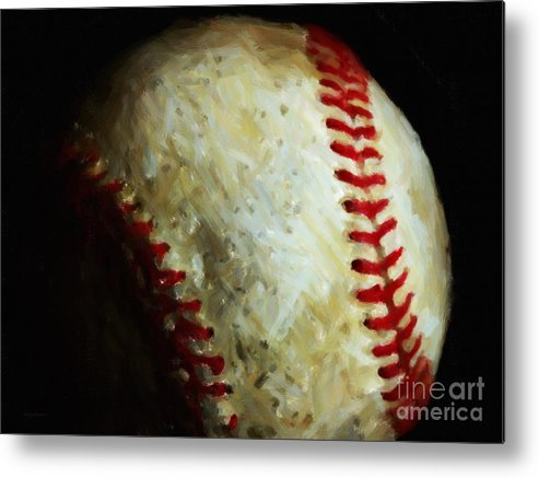 Baseball Metal Print featuring the photograph All American Pastime - Baseball - Painterly by Wingsdomain Art and Photography