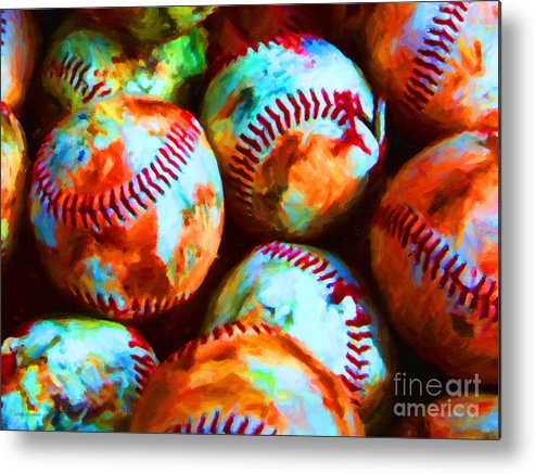 Baseball Metal Print featuring the photograph All American Pastime - Pile Of Baseballs - Painterly by Wingsdomain Art and Photography