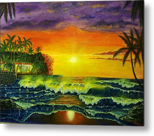 Landscape Metal Print featuring the painting Aloha by Charles Vaughn