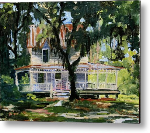 Country House Metal Print featuring the painting Alpine Grove Farmhouse by Pamela Geiger