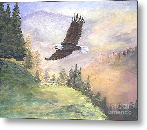Landscape Painting Metal Print featuring the painting American Bald Eagle by Nicholas Minniti