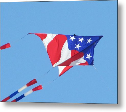Kite Fyling Metal Print featuring the photograph American Flag Kite by Gregory Smith