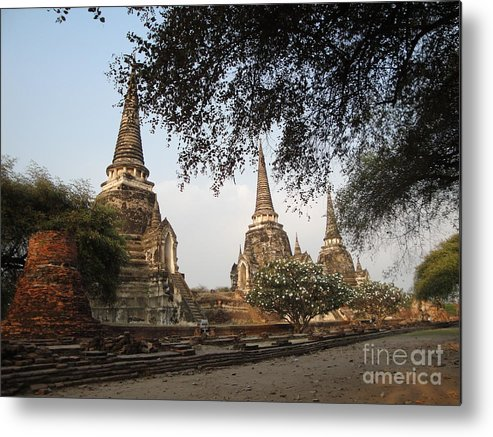 Ayuthaya Metal Print featuring the photograph Ancient Buddhist Stupas by Mike Holloway