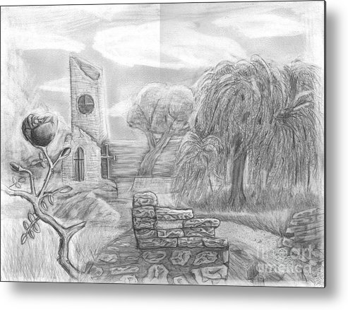 Landscape Metal Print featuring the drawing Ancient Church by Katie Alfonsi