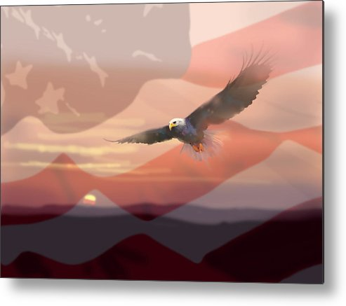 Eagle Metal Print featuring the painting And The Eagle Flies by Paul Sachtleben