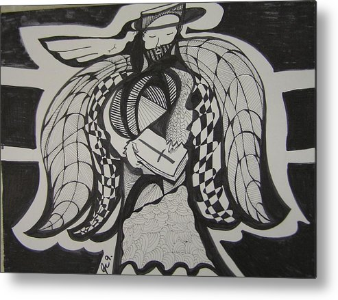 Angel Metal Print featuring the drawing Angel Receiving Prayer by Jimmy King