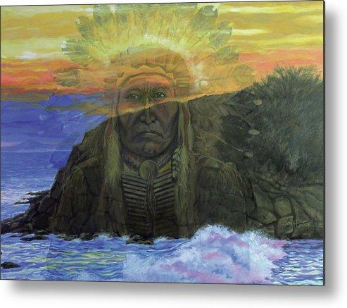 Native American Metal Print featuring the painting Anishinaabe by Jon Hunter