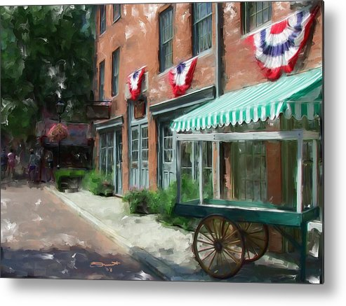Painting Street Oil New England Market Tourist Vendor Impressionism Massachusetts Antiques Metal Print featuring the painting Another Day's End by Eddie Durrett