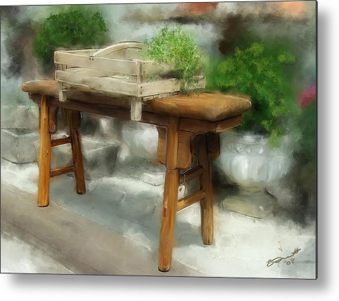 Peterborough Nh Bench Antique Oil Green Brown Earth Tones Metal Print featuring the painting Antiquing In Peterborough by Eddie Durrett