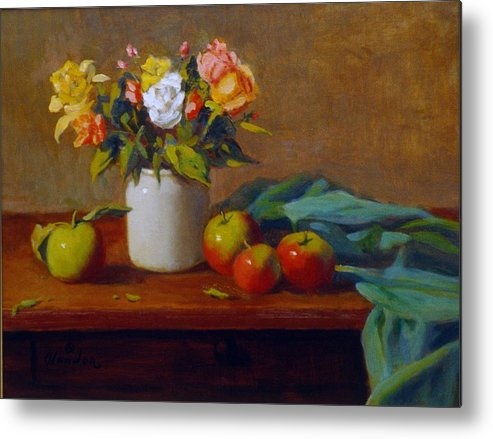 Still Life Alla Prima Metal Print featuring the painting Apples And Flowers by David Olander