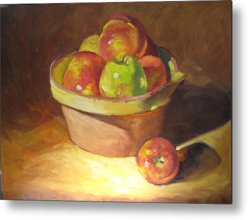Stilllife Metal Print featuring the painting Apples In A French Bowl. by Susan Jenkins