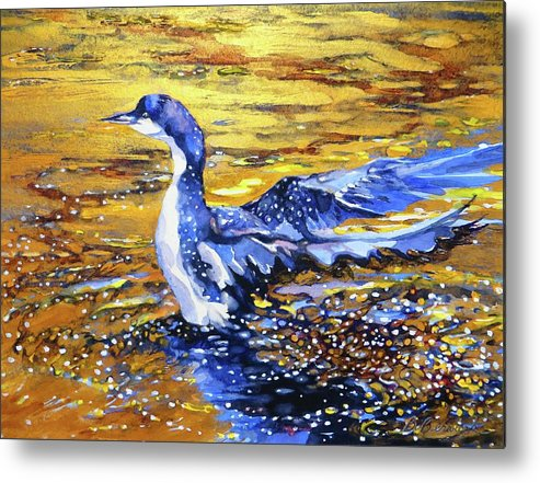 Arctic Metal Print featuring the painting Arctic Loon On Golden Pond by Beverly Berwick