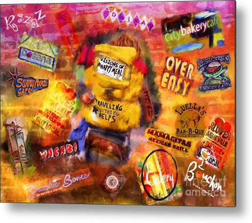 Asheville Metal Print featuring the mixed media Asheville Eats by Marilyn Sholin