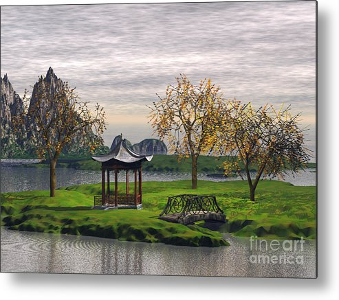 Landscape Metal Print featuring the digital art Asian Landscape by John Junek