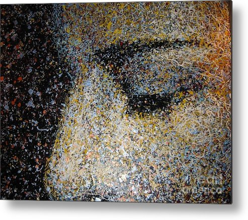 Portrait Metal Print featuring the painting Asleep In A Loud Place by Jason Felkner