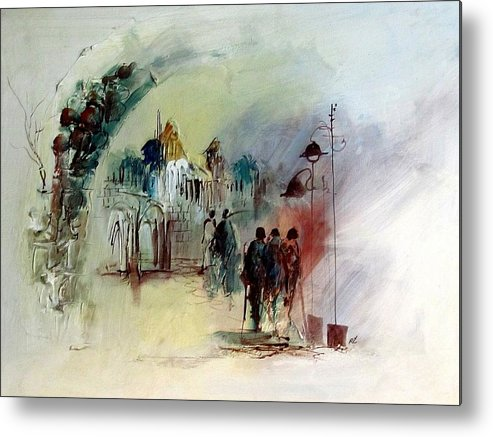 Composition Metal Print featuring the painting At Noon by Rafi Talby