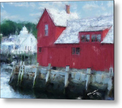 Rockport Mass Gloucester Mass Sea Coast Fishing Shanty Shack Metal Print featuring the painting At The Docks by Eddie Durrett