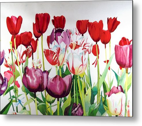 Tulips Metal Print featuring the painting Attention by Elizabeth Carr