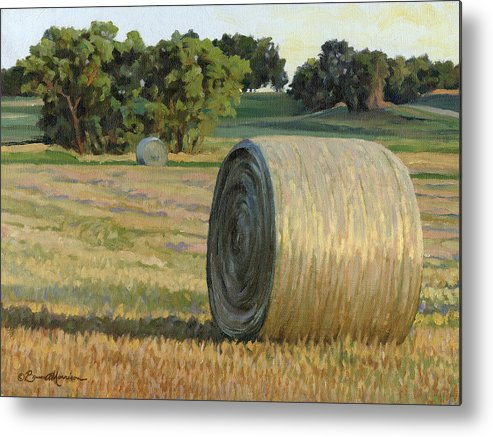 Landscape Metal Print featuring the painting August Bales by Bruce Morrison