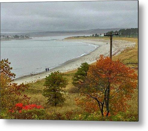 Seascape Metal Print featuring the photograph Autumn Beachcombers by Patricia E Sundik