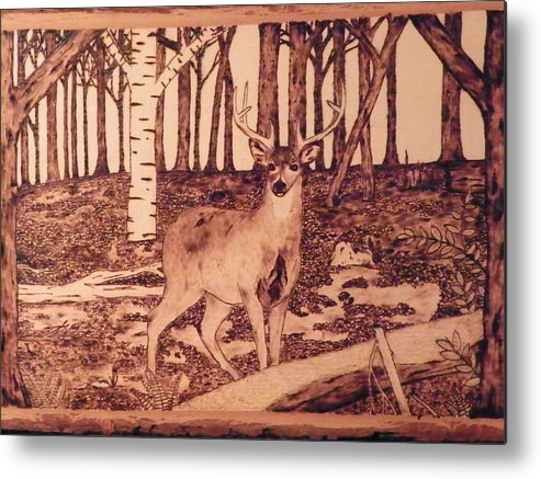 Forest Metal Print featuring the pyrography Autumn Deer by Andrew Siecienski