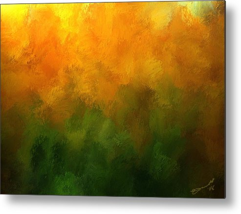 Orange Fall Autumn Yellow Green Pumpkin Trees Forest Light Sun Season Mood Transition Metal Print featuring the painting Autumn Fire New England by Eddie Durrett