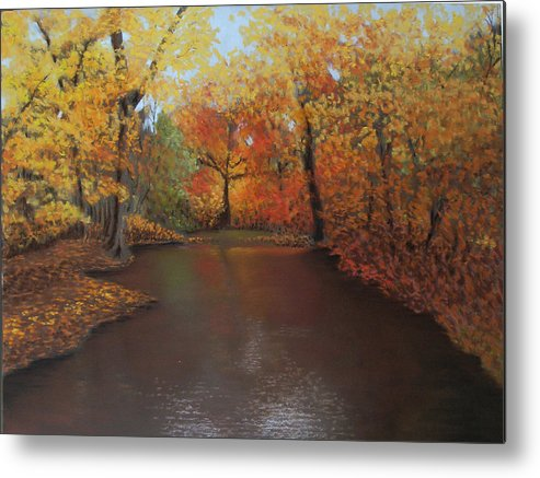 Landscape Metal Print featuring the painting Autumn Fire by Susan Jenkins
