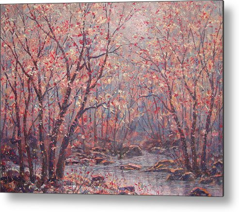 Landscape Metal Print featuring the painting Autumn Harmony. by Leonard Holland